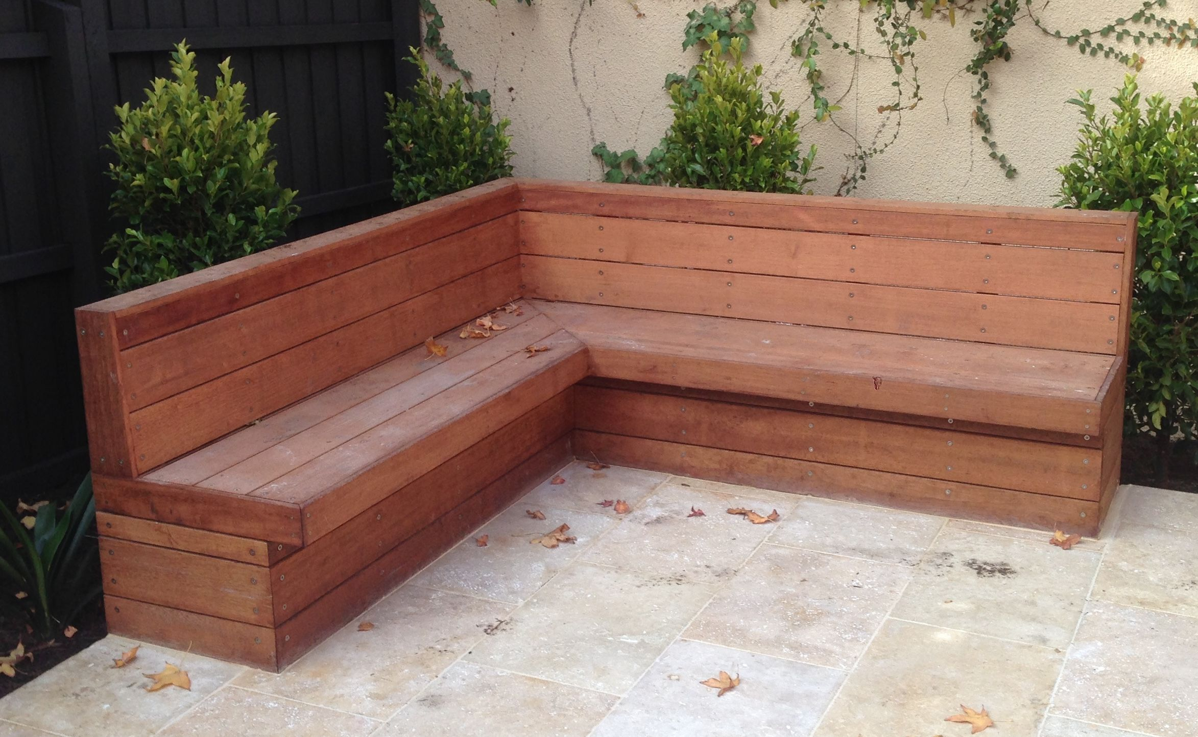 Merbau Clad Bench Seat With Backrest Diy Bench Outdoor Outdoor