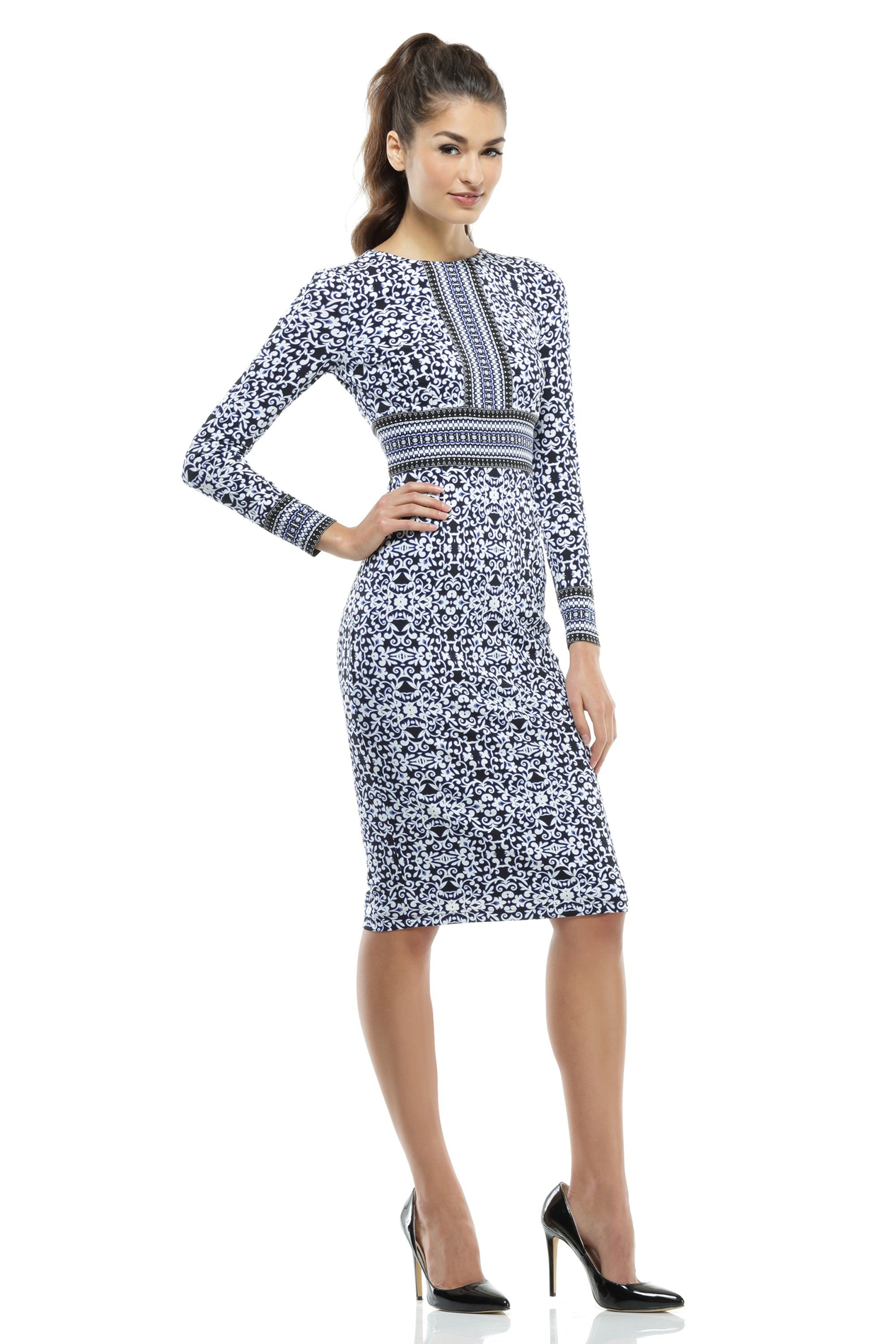 The dress and beyond - Long Sleeve Maggy London Casual Midi Dress For Work And Beyond