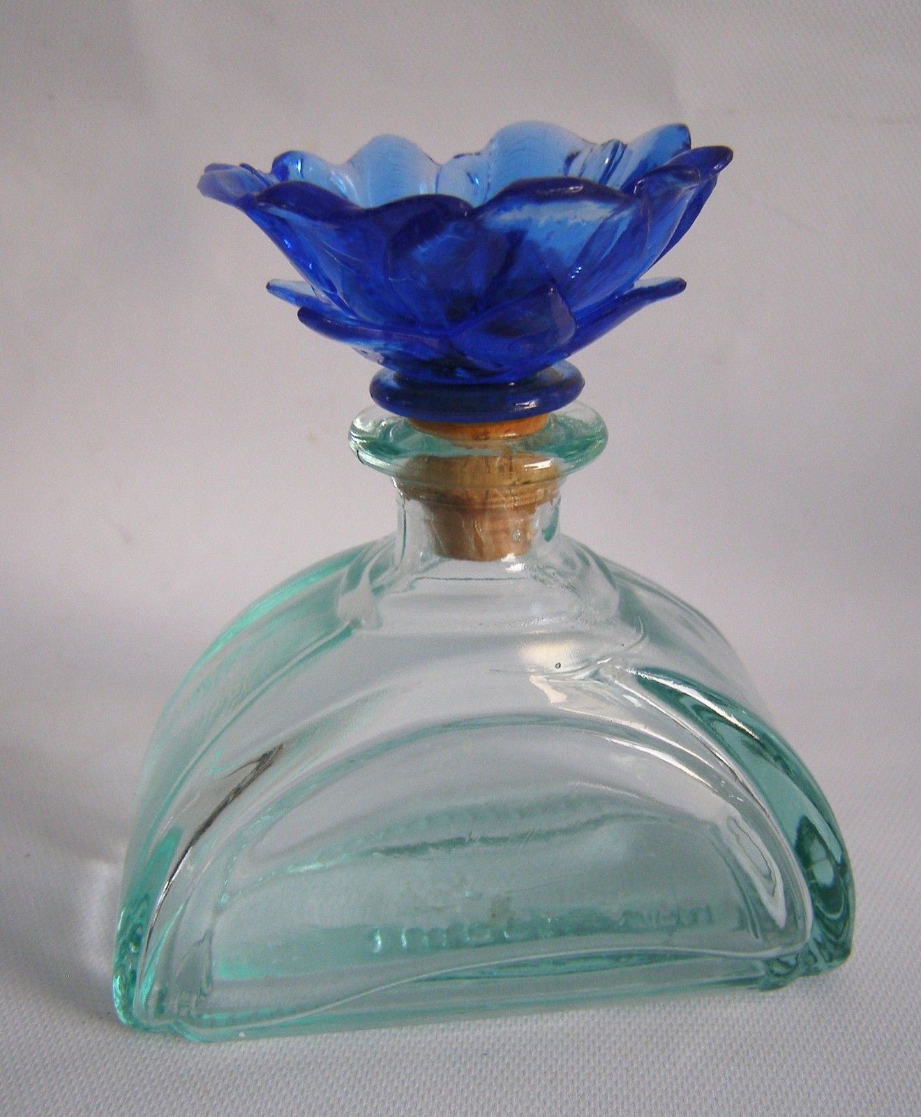 Green glass perfume bottle w blue flower stopper art deco 4 tall green glass perfume bottle w blue flower stopper art deco 4 tall italy 100ml ebay izmirmasajfo