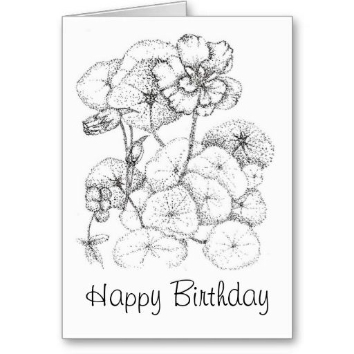 Happy Birthday Nasturtium Flower Drawing Art Greeting Card