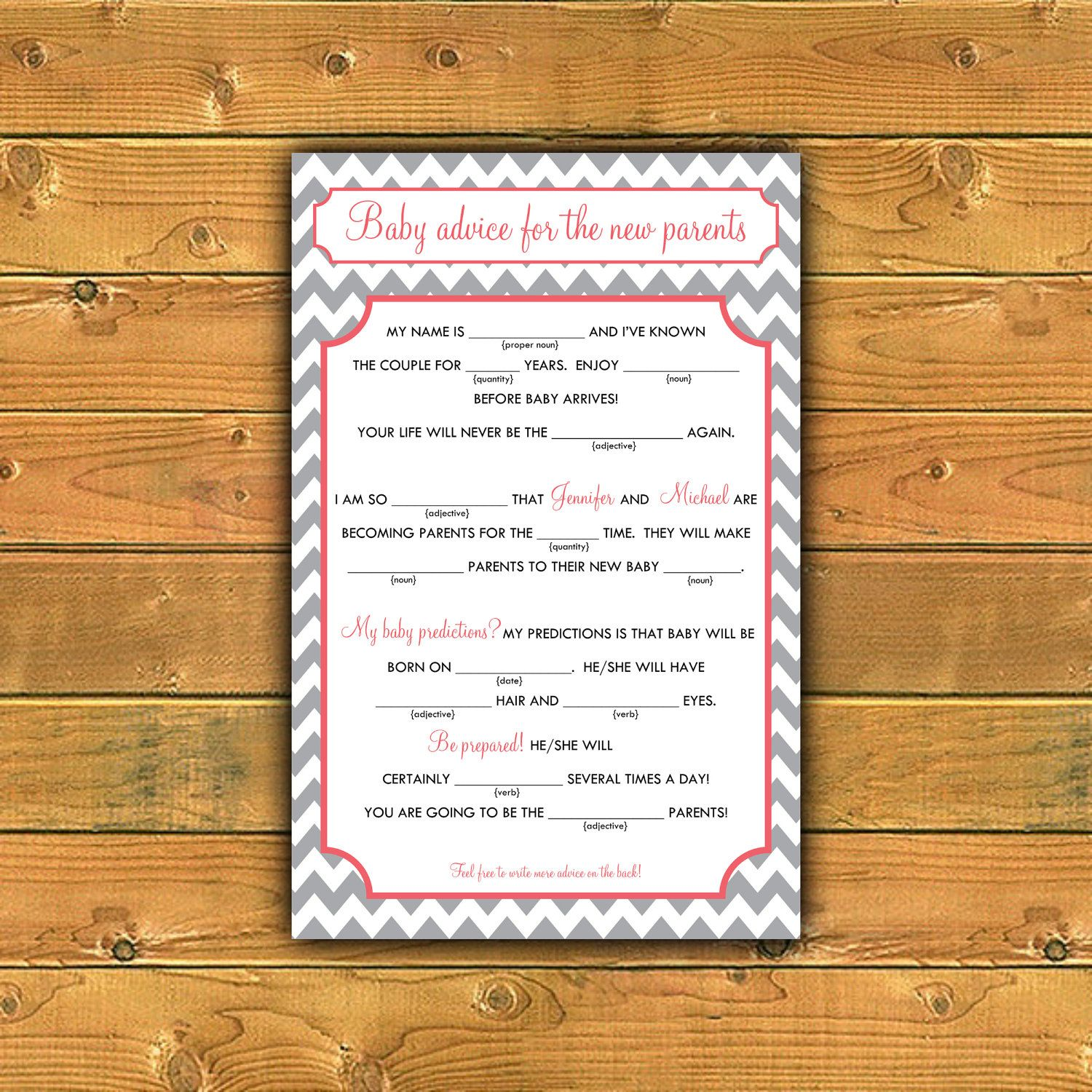 Baby Mad Libs Baby Advice Printable Digital By