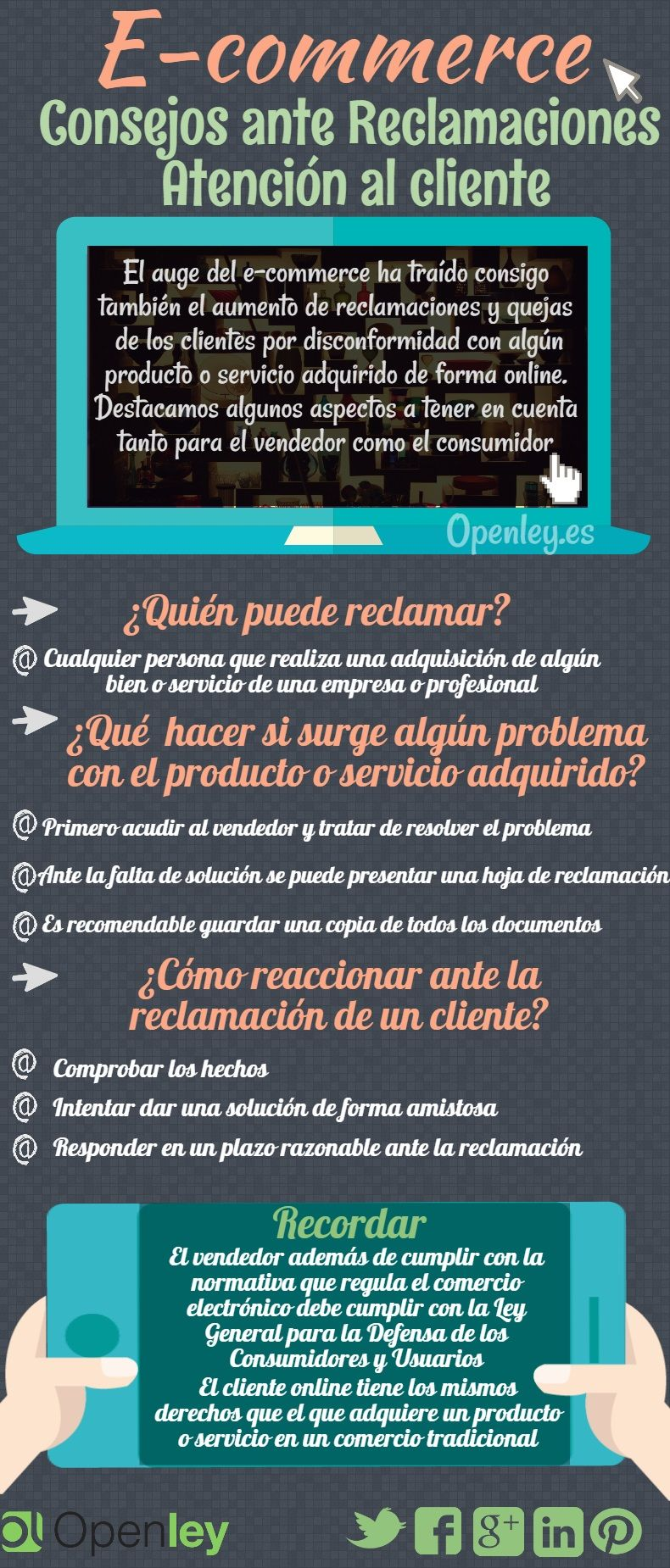 Consejos Sobre Reclamaciones En Comercio Electrónico Infografia Ecommerce Marketing Tics Y Formación Ecommerce Web Design Digital Marketing Marketing