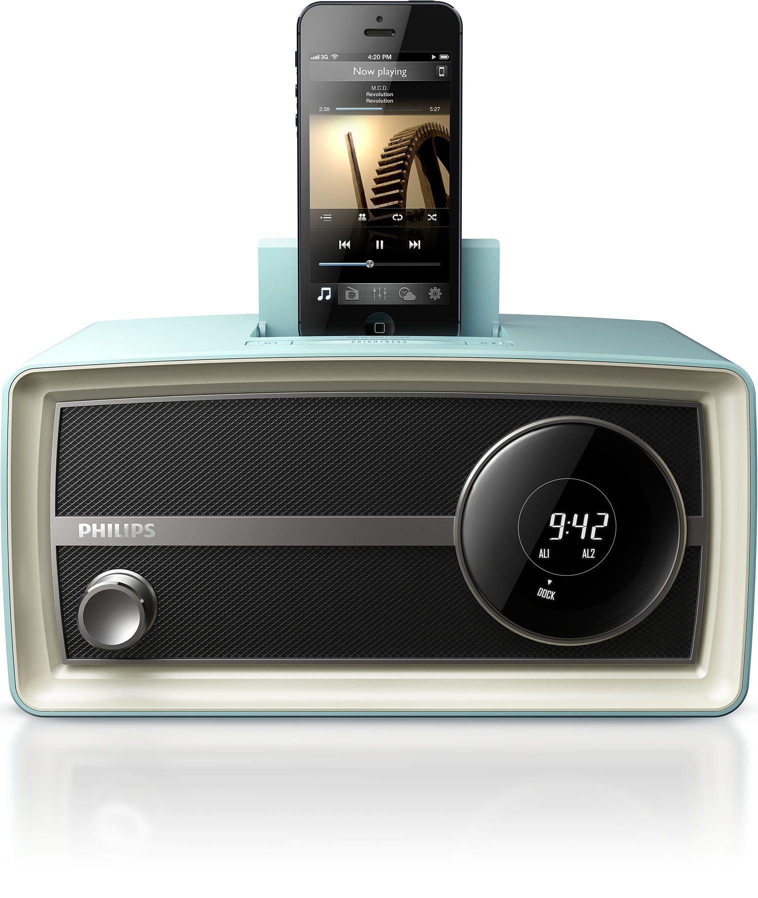 Philips Original Radio Mini In Blue Alarme E Retro