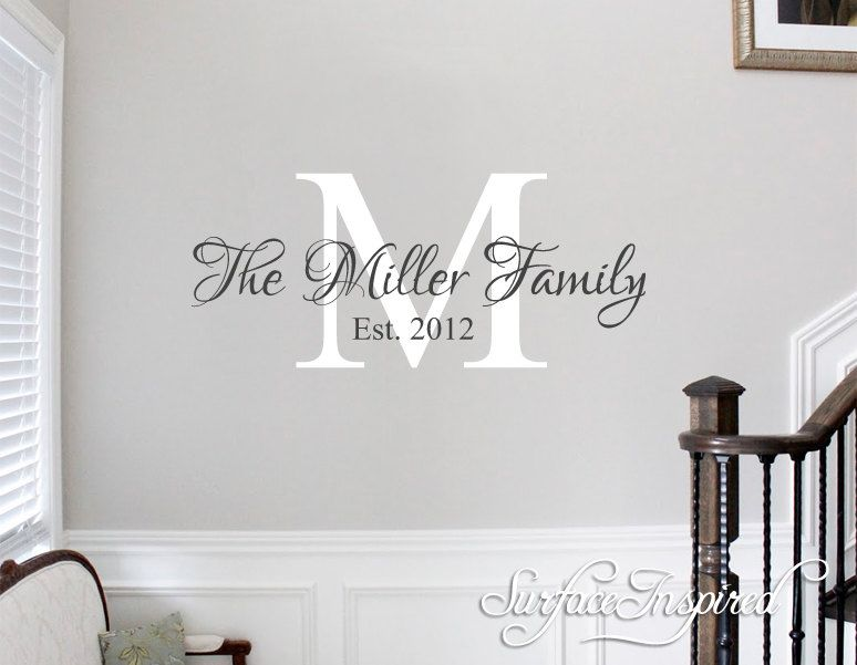Family name decal personalized family wall decal name monogram vinyl wall decal family wall decal wedding gift by surfaceinspired on etsy