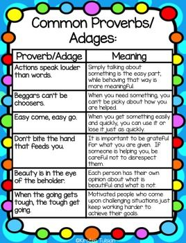 Proverbs and Adages Activities and Task Cards | TEKS Reading