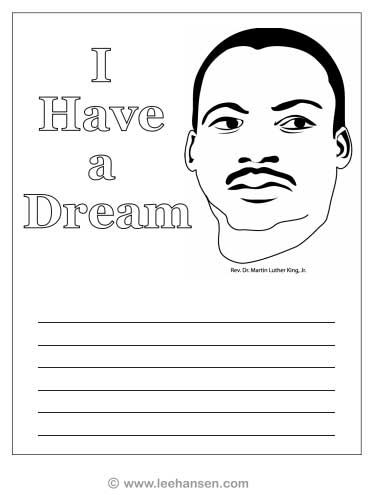 Martin Luther King Coloring Pages write your dream - Enjoy Coloring ...