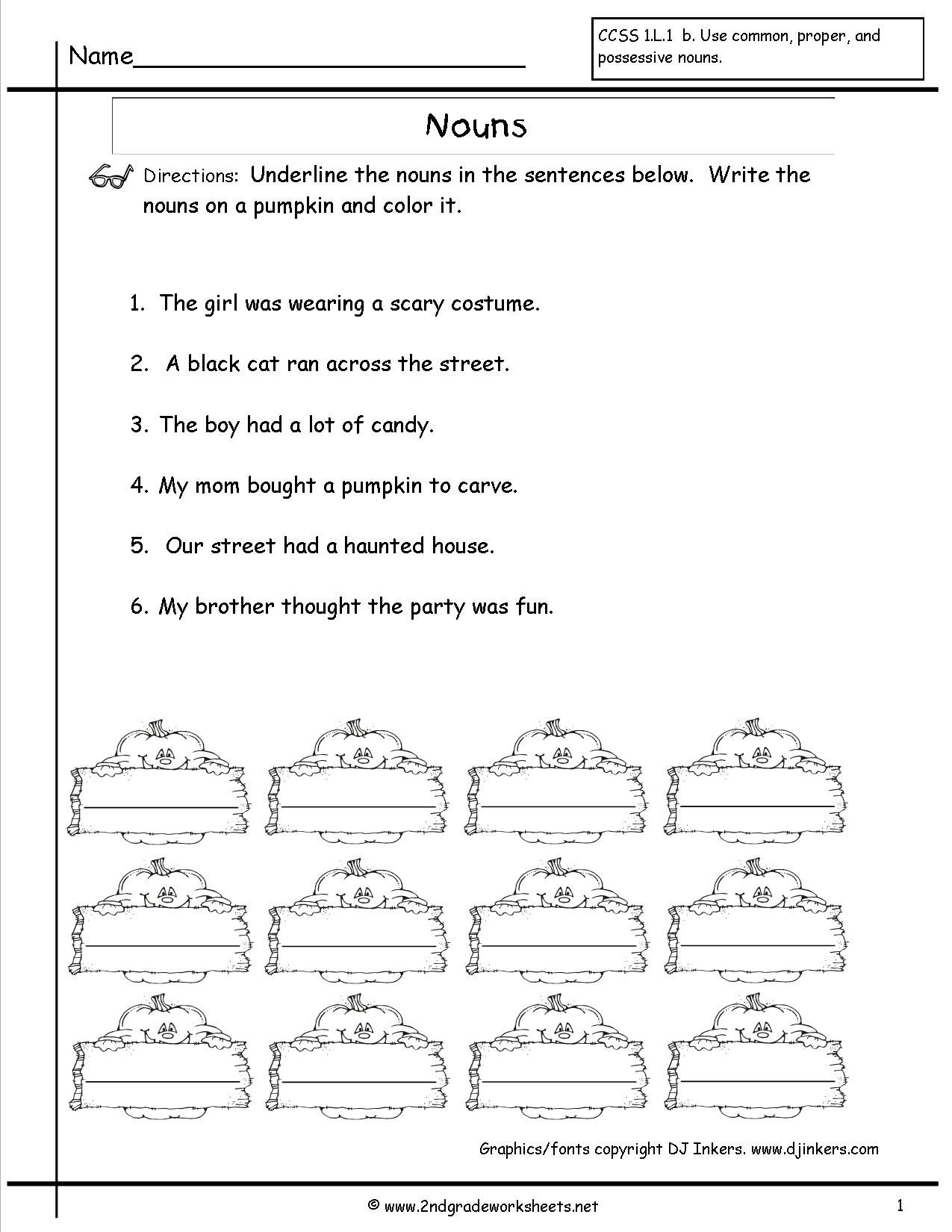 English Grammar Noun Worksheet For Grade 1 Awesome Nouns