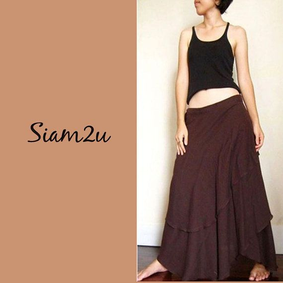 Boho Hippie Long Brown  Soft Cotton Wrap skirt  S XL  M by siam2u, $39.00