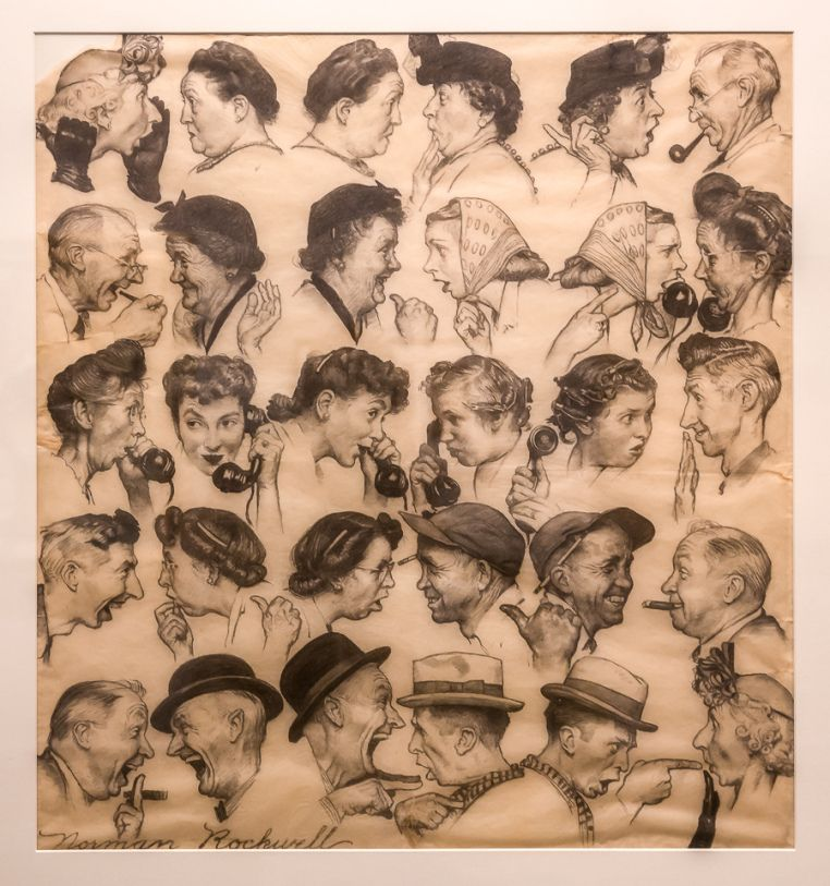 """Charcoal version of the """"Gossips"""" by Normal Rockwell"""