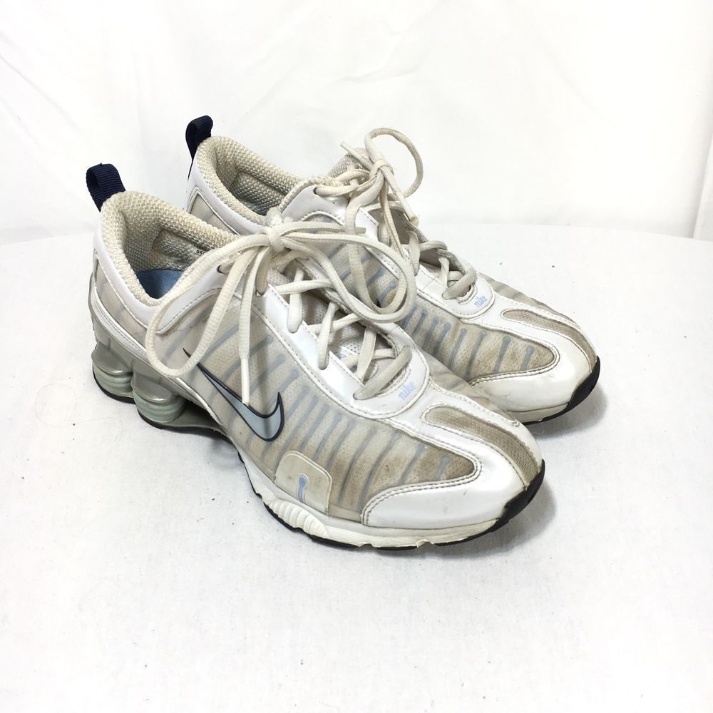new arrival 26621 8a5c7 Nike Shox Legend Trainer Womens 8 White Blue Lace Up Athletic Running Shoes    eBay