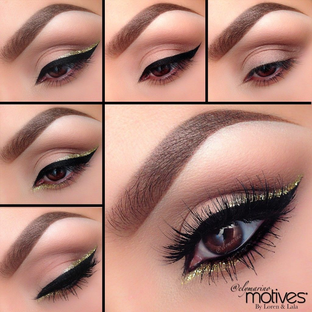 We Love This Golden Line Holiday Look Created By The Amazing Ely Marino Using Motives Cosmetics Step By Step Pic Crazy Eyeshadow Eye Makeup Motives Cosmetics [ 1024 x 1024 Pixel ]