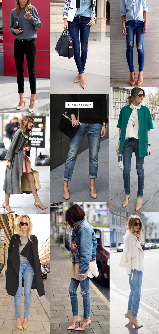 The Nude Pump | outfit inspiration - seriously need to find a good pair of nude pumps.
