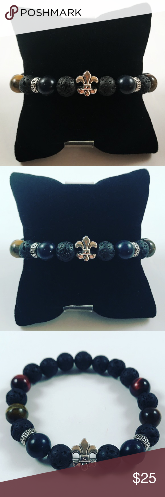 Men lava rock tiger eye fleur de lis bead bracelet men beaded