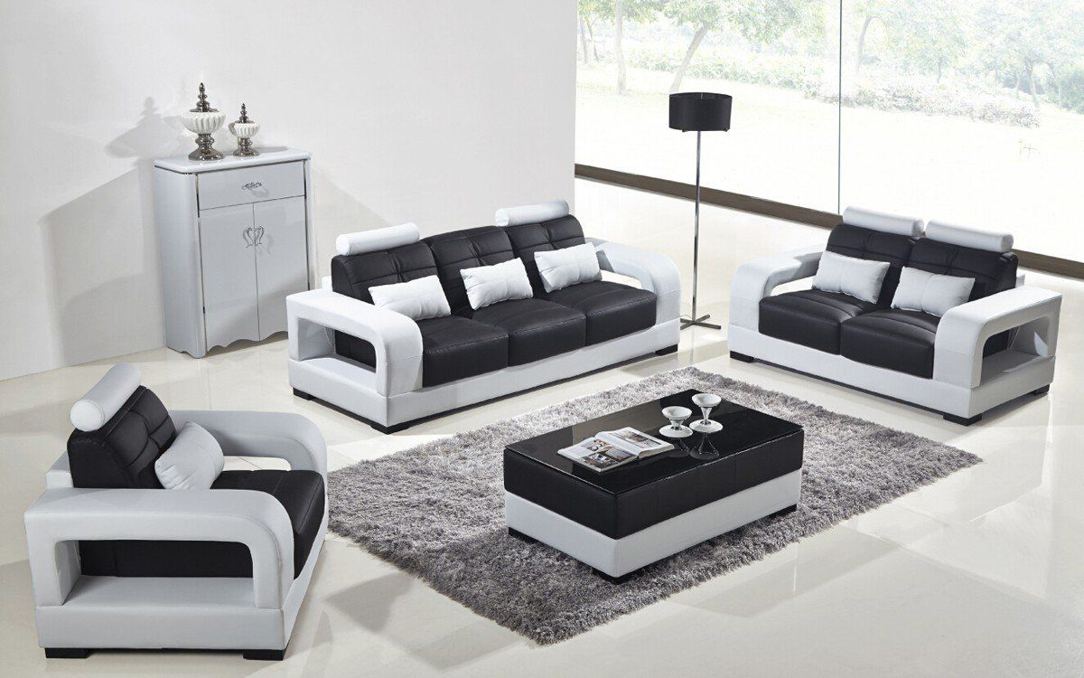 Divani Casa T322b Modern White Black Eco Leather Sofa Set