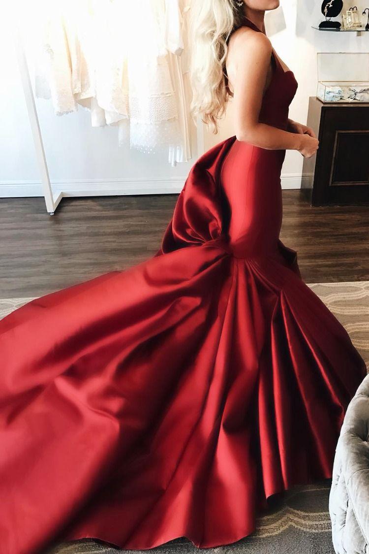Mermaid Backless Sweetheart Long Red Wedding Dress Red Wedding Dress Red Wedding Dresses Red Wedding Dress Mermaid [ 1125 x 750 Pixel ]