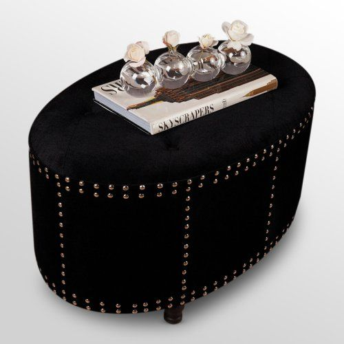Find it at the Foundary - Studded Oval Ottoman - Black | Seating ...