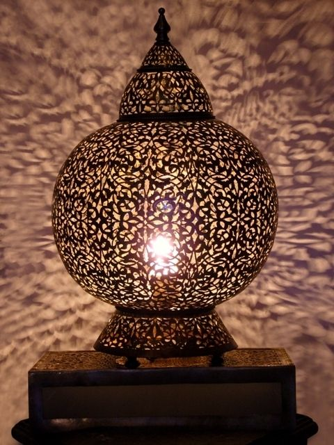 Moroccan Brass Table Light Table Lamp Delicately Chiselled Patterns