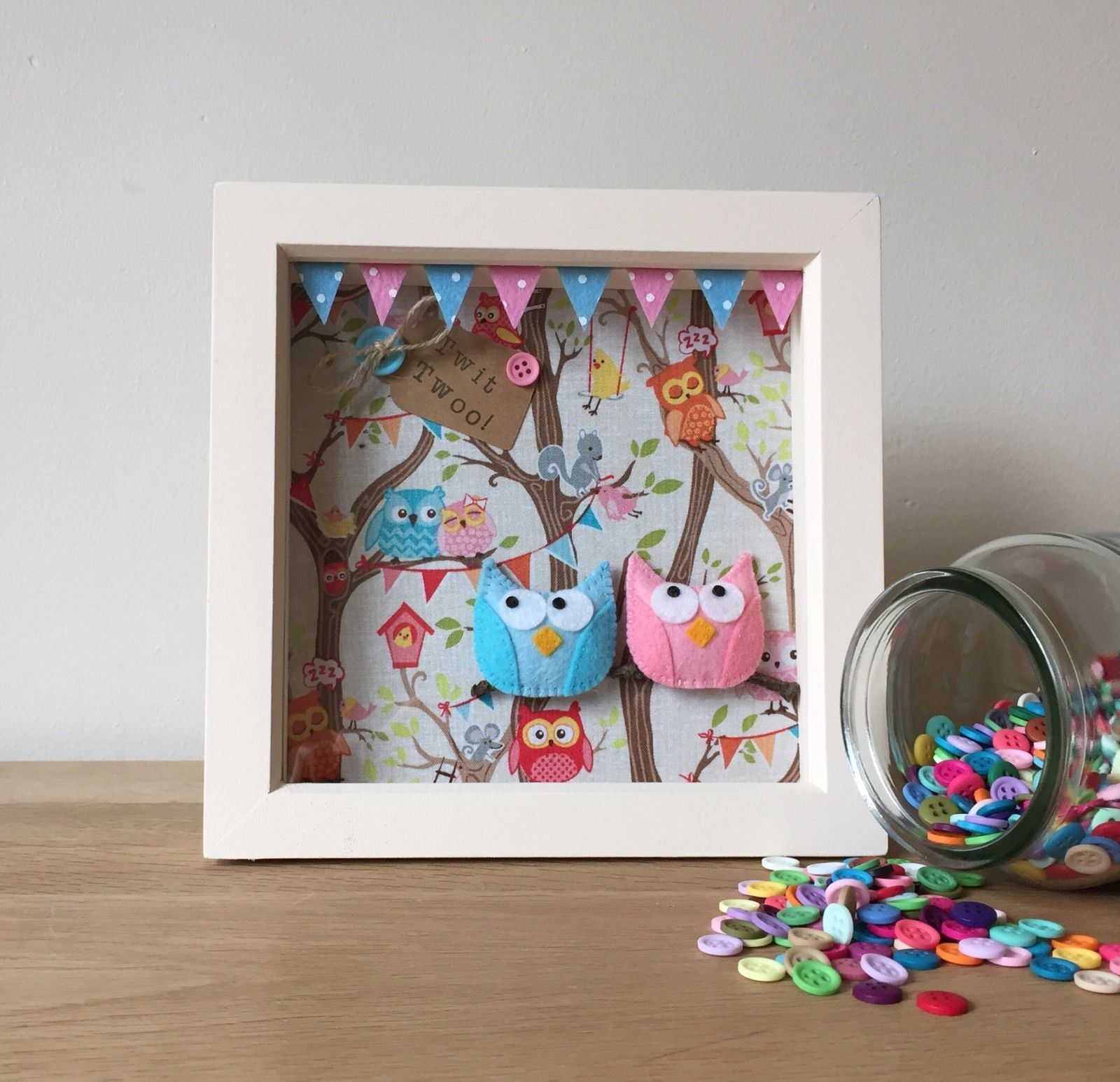 3d Owl Party Box Frame Picture Personalised Gift In Home