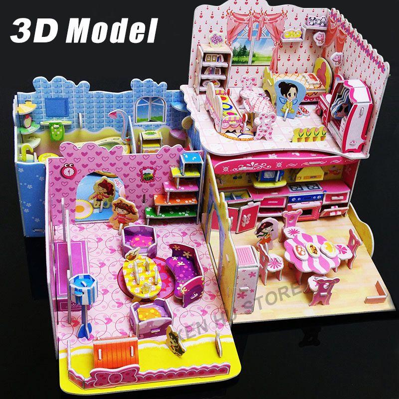 Детские игрушки 3D головоломки Спальня Кухня Гостиная Ванная комната - jeux de construction de maison en 3d