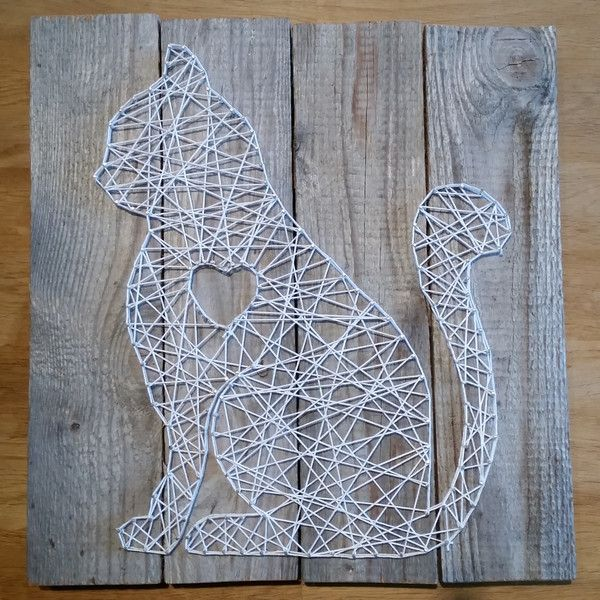 Wanddeko - Katze String-Art - ein Designerstück von DIYSundM bei DaWanda #stringart