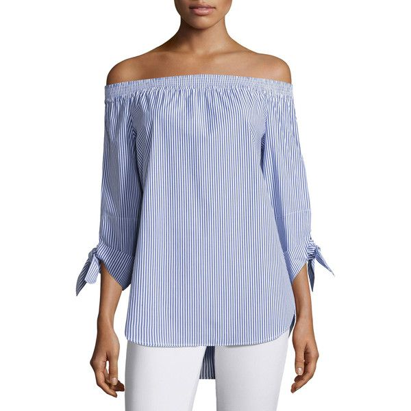 740a48ff3445d Finley Jill Madison Striped Off-the-Shoulder Tie-Sleeve Blouse ( 198) ❤  liked on Polyvore featuring tops
