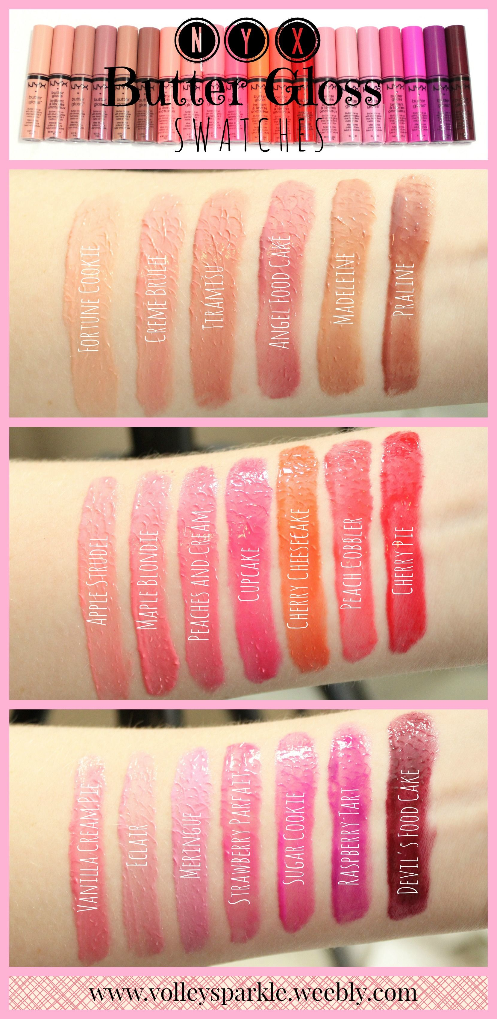 Nyx Butter Gloss Swatches 20 Shades Nyx butter gloss
