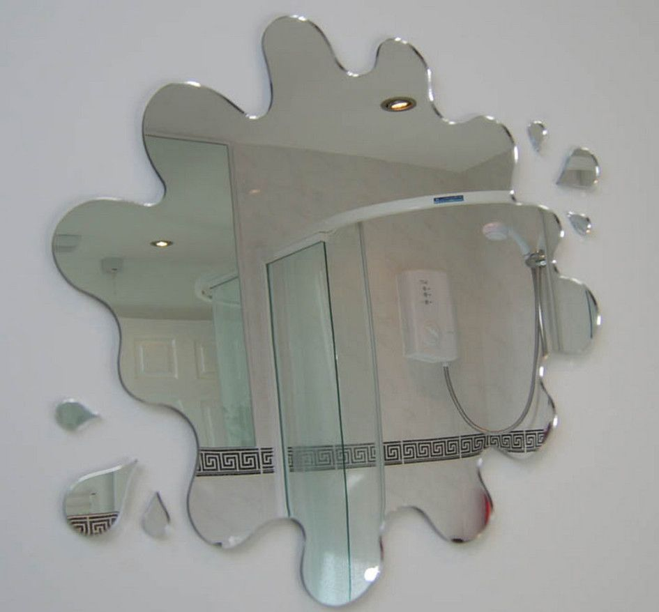Furnitured Fascinating Unique Frameless Wall Mirror Mounted