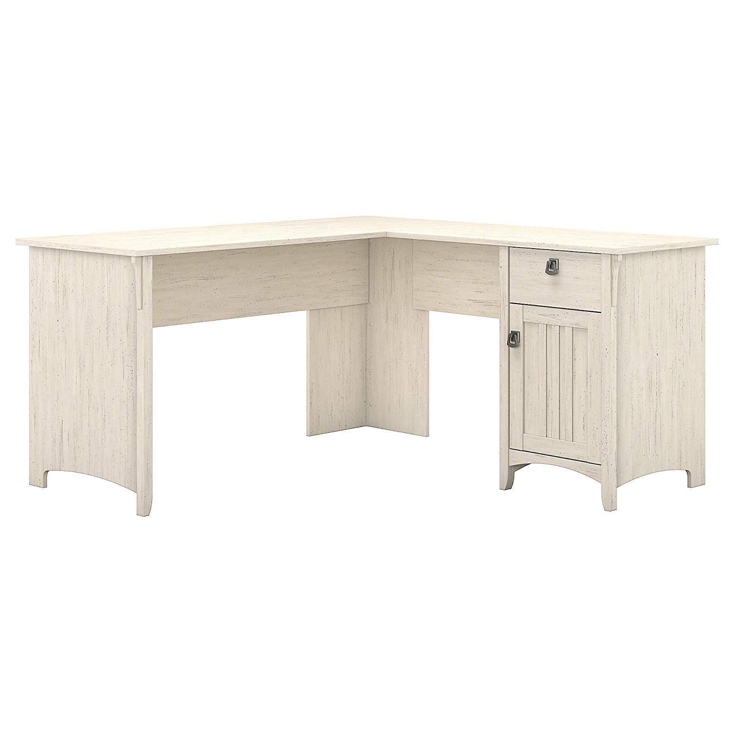 Amazon Com Bush Furniture Salinas L Shaped Desk With Storage In Antique White Kitchen Dining Bush Furniture Desk Storage L Shaped Corner Desk