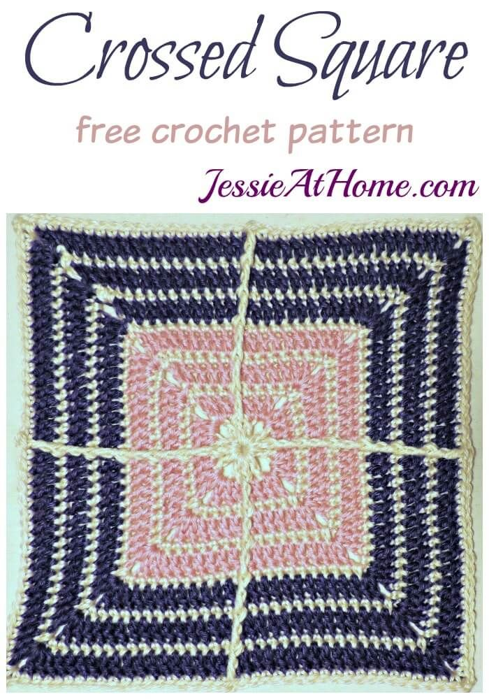Crossed Square free crochet pattern by Jessie At Home | Free Crochet ...