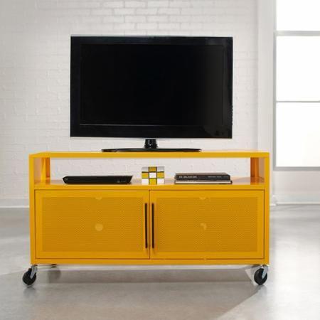 Sauder Soft Modern Yellow Saffron Tv Cart For Tvs Up To 47