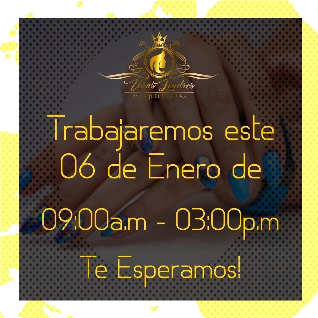 Señores mañana trabajaremos de 9am a 3pm, así que les esperamos aquí en @unas_londres . .