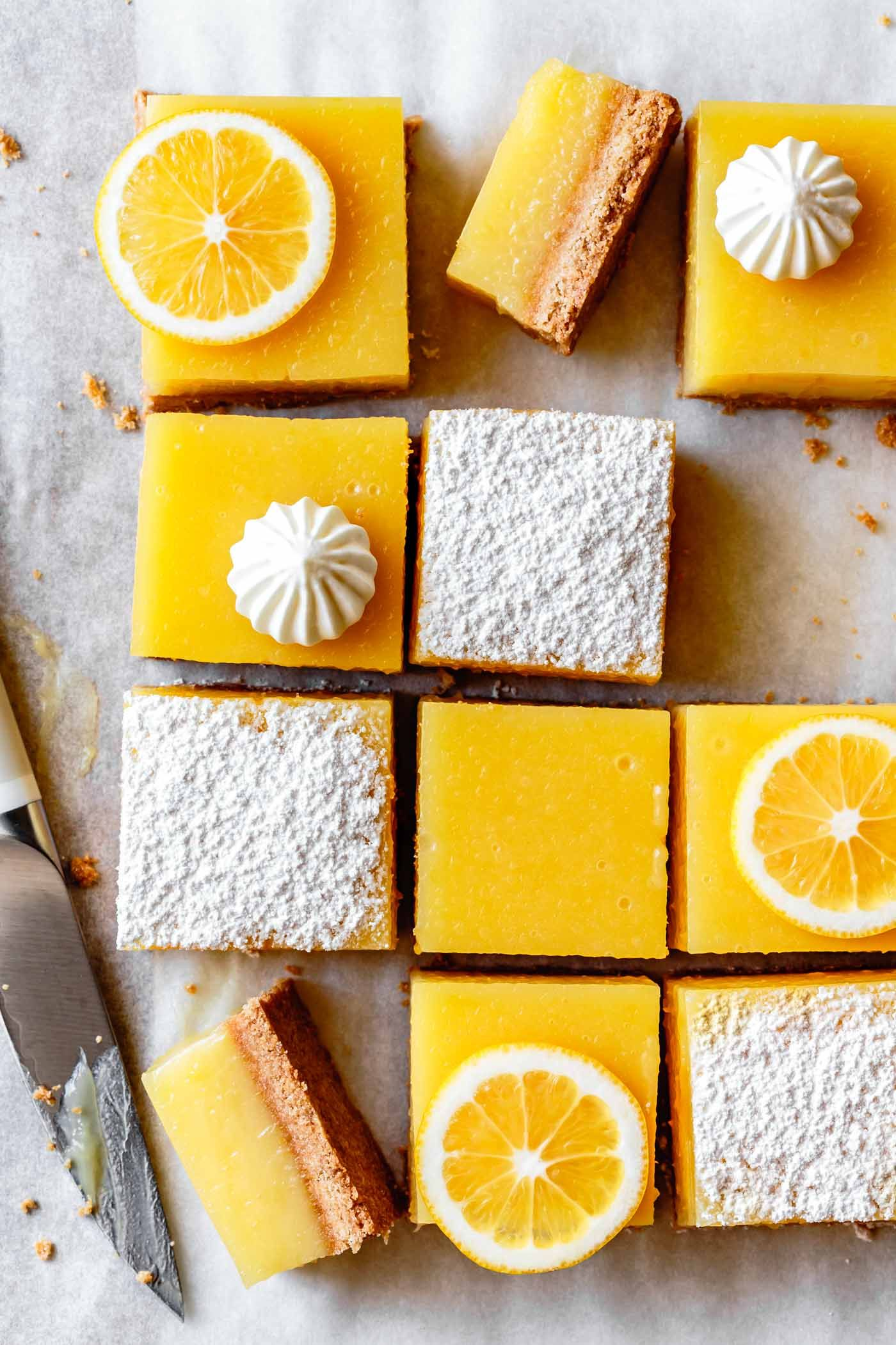 Gluten-Free Lemon Bars | With creamy, tangy lemon curd and a salty-sweet almond flour shortbread cr