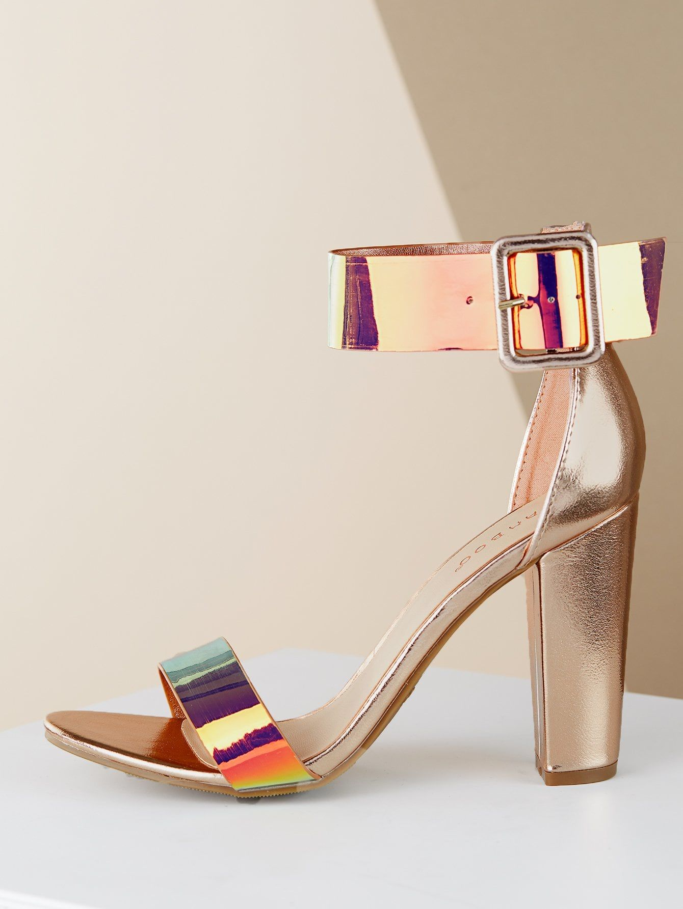 ee00fb28a Elegant Ankle cuff Gold High Heel Chunky Metallic Ankle Strap Open Toe High  Heel Sandals