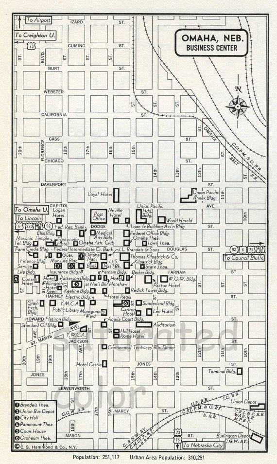 Omaha Nebraska Ne Map Vintage 1950s Original By Saturatedcolor
