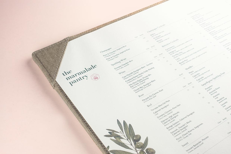 The Marmalade Pantry | Corporate Design Stationary | Menu Design