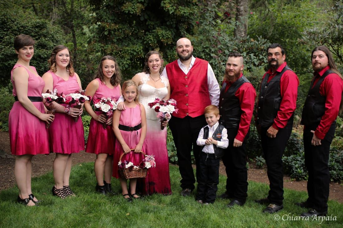 Fairy Tale Meets Biker Wedding Red And Pink White Dress Bridesmaids Dresses Black Groomsmen Handmade Hand Dyed Ombre