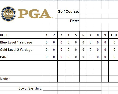 Golf Scorecard Template Excel Golf Scorecard Templates Card