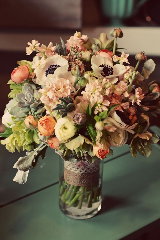 Anemone, ranunculus, hellebore, succulents, stock, and tulips