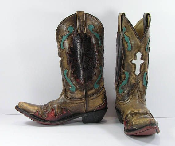 7fab39759d5a vintage cowboy boots women s 7 M B brown turquoise white cross inlays  genuine leather cowgirl