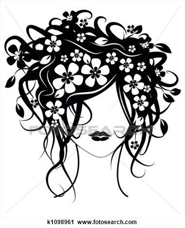 Beautiful Girl With Flowers In Hair Clip Art K1098961 Silhouette Art Art Girls With Flowers
