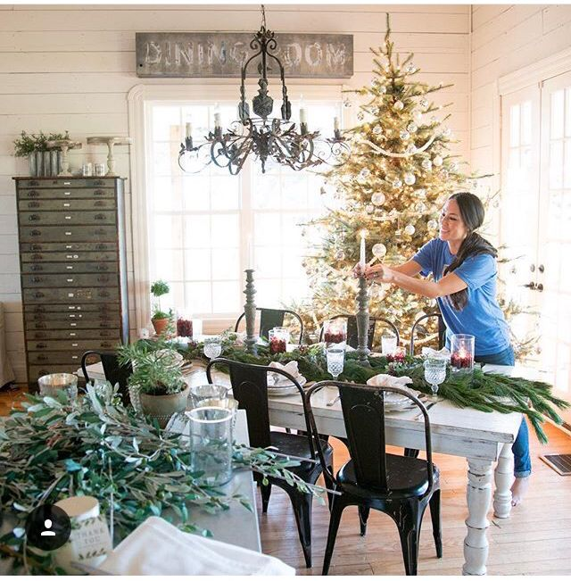 love the idea of a xmas tree in the dining room joannagaines on instagram merry christmas. Black Bedroom Furniture Sets. Home Design Ideas
