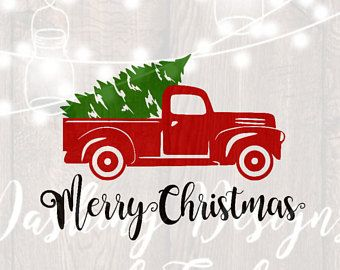 Digital Download Svg Png Merry Christmas Truck Tree Retro