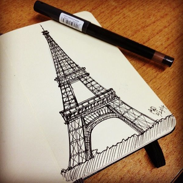 70 Easy And Beautiful Eiffel Tower Drawing And Sketches Sketches