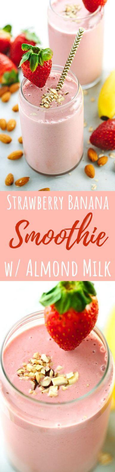 Erdbeer-Bananen-Smoothie mit Mandelmilch #Gesundheitsgetränk #Frühstück #strawberrybananasmoothie