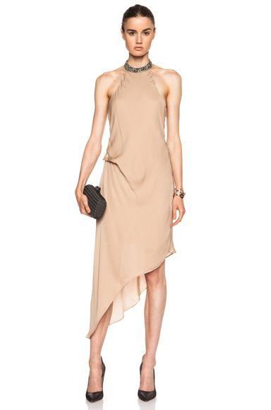 f9b91edef385 Haute Hippie Embellished High Neck Asymmetric Silk Dress in Matte Gold |  FWRD