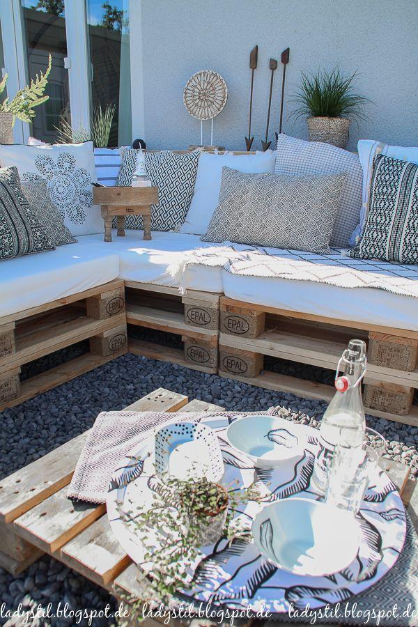 Paletten Lounge palettenlounge selberbauen dekoideen für terrasse und garten