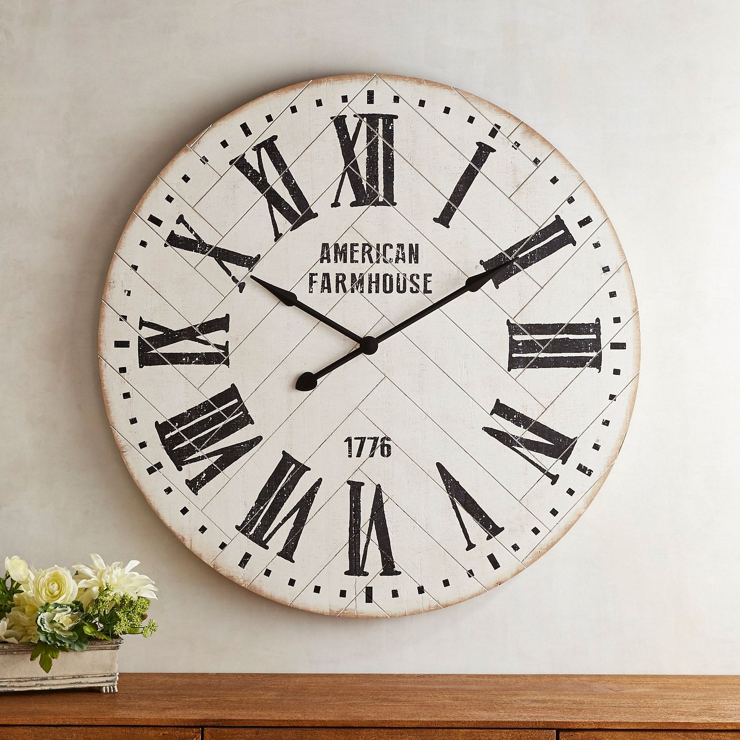 Whitewashed shiplap farmhouse wall clock farmhouse wall clocks