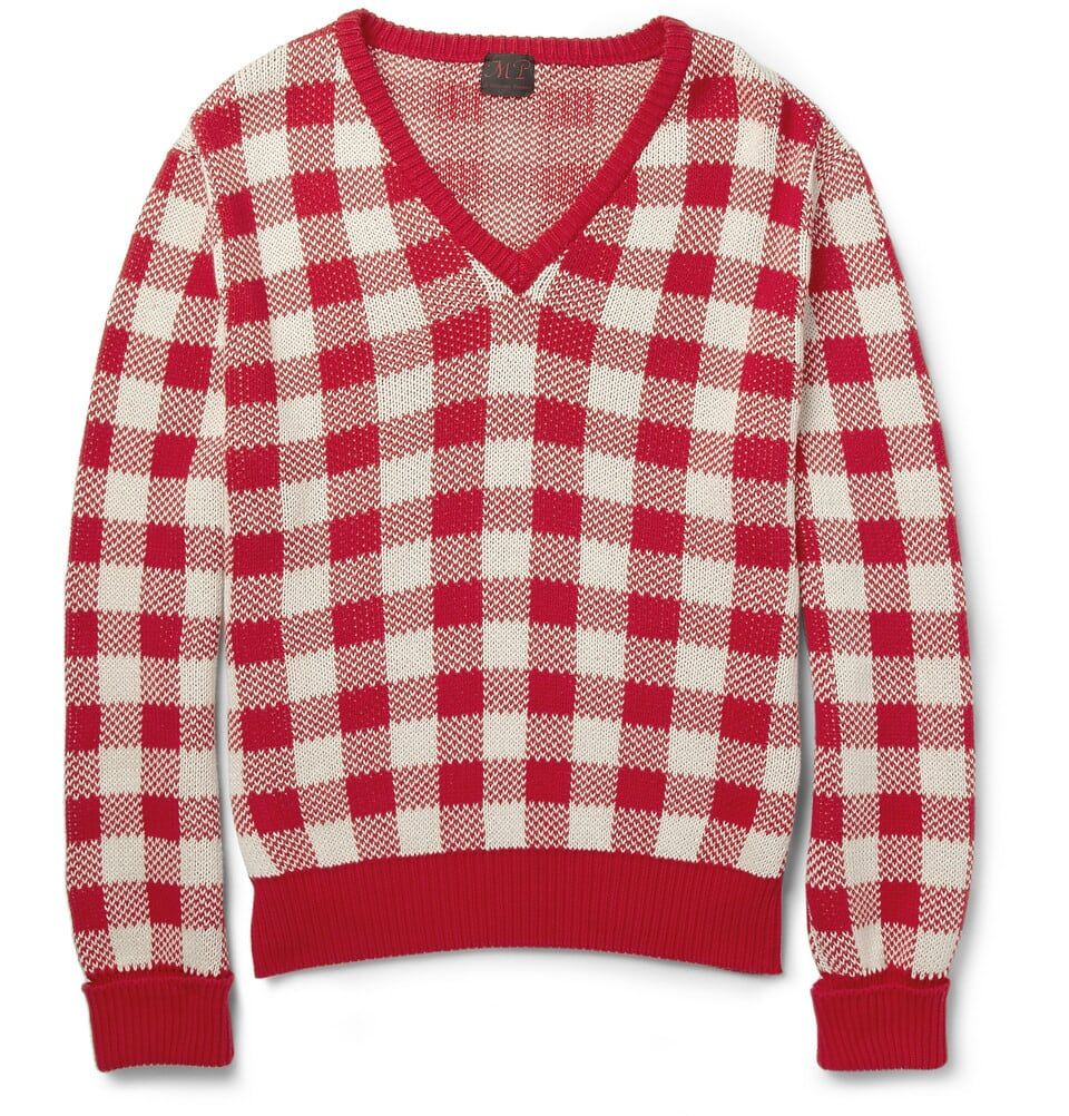 MP Massimo Piombo Mens Cotton Vneck Sweater Red White Check | mens ...