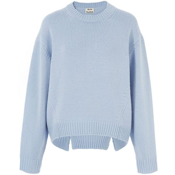 Acne Studios Light Blue Chunky Wool Knit Shora Jumper (¥58,385) ❤ liked on Polyvore featuring tops, sweaters, crewneck sweater, wool knit sweater, oversized knit sweaters, oversized sweaters and chunky sweater