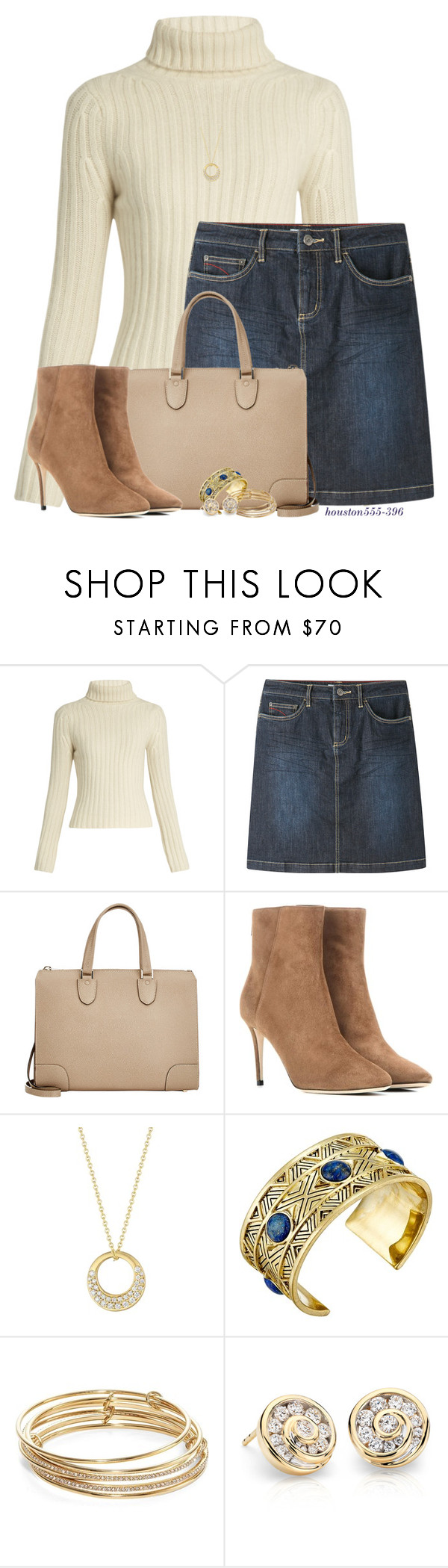 """""""Cute Jean Skirt!"""" by houston555-396 ❤ liked on Polyvore featuring Ryan Roche, Mountain Khakis, Valextra, Jimmy Choo, Carelle, House of Harlow 1960 and Kate Spade"""